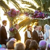 bel air bay club wedding chuppah jeweish wedding purple