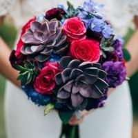 bridal bouquet succulents boho chic jewel tones