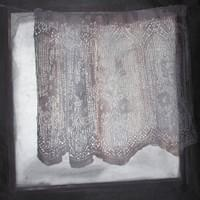 Esirippua /Curtain, 83x83, puupiirros ja monotypia / woodcut and monotype 2017