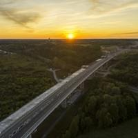 Aerial shooting of a highway extension site