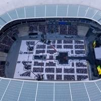 Aerial shooting of a concert