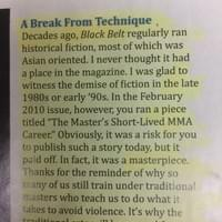 A reader's letter to the editor regarding my story in Black Belt magazine, which ended a 20+ year ban on fiction.
