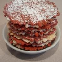 One dozen almond amaretto & red velvet pizzelles