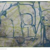 "Blue Lime Green Wandering | 15.75 "" x  12"" 