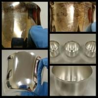 Silver punch cups before and after treatment