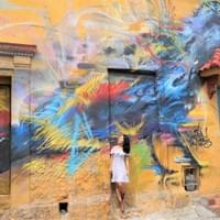 Appreciating street art in Cartagena, Colombia