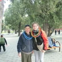 While visiting my bestie in Hong Kong, we made a trip to China. Here I am in a park in Beijing after having played a new game with a joyous funny man I had just met.