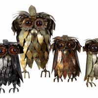 Set of Four Metal Brutalist Owls
