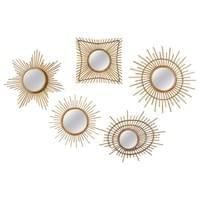 Collection of 5 Sunburst Rattan Mirrors