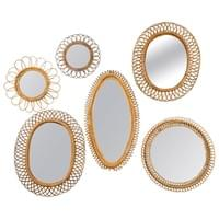 Collection of Rattan or Wicker Mirrors, France or Italy, circa 1960.