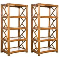 Pair of Bamboo Etageres