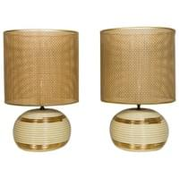 Pair of White and Gold Porcelain Lamps