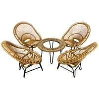 Rattan set of scoop chairs and table