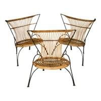 Set of 3 Metal and Wicker Slipper Chairs