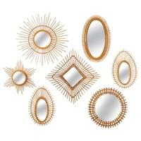 Collection of Rattan or Wicker Sunburst Mirrors, France or Italy, circa 1960.