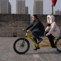 Tandem on the city wall. Xi'an, China.