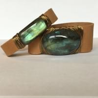 Labradorite Wrapped Leather Cuff Bracelets