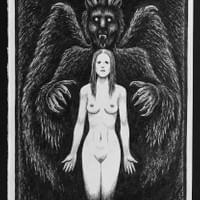 """Devil Holding Female Nude"""