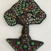 Peony Tree. Mixed media mosaic. £165.00