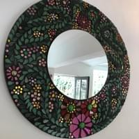 Peony 'Embroidered' Mirror, 50cms dia, mixed media mosaic, £245