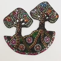 Twin Tree Mosaic. Mixed media mosaic. £247