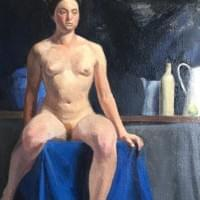 Study with blue cloth