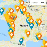 La carte des couchers de soleil en france