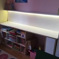 Child's desk and storage space., with integrated LED lighting.