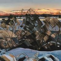"""Stark and Bright - Boise Foothills and River on a Winter Evening"" 24""x60"" oil/wax/charcoal on linen"