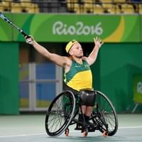 Australian Paralympian Dylan Alcott utilising his custom made carbon fibre seat and knee guards.