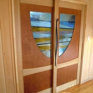 ドアDoor4 Wood Wrought Iron & Stained glass