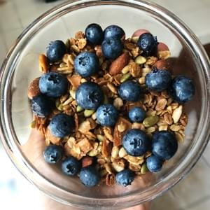 Homemade Granola topped w/ Fresh Blueberries