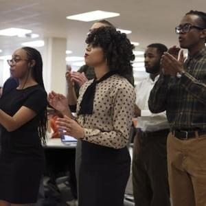 "Voices in Stone, Processional, ""Ain't Gonna Let Nobody Turn Me 'Round"" (2019), Bryanna Batts, Devair Jeffries, Scotty Hardwig, Isaac Hylton, Rodney McKeithan, Bob Leonard, Destinee Jones; Not Pictured: Morgan Blackwell; Photo: Matt Gentry, Roanoke Times"