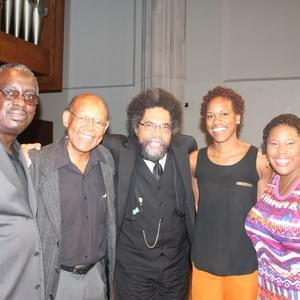 Kendrick alongside his mentor, the father of Black Liberation Theology, Dr. James Cone, world renowned philosopher Dr. Cornel West, and fellow-travellers to Ferguson, MO and peers, Khadijah Abdul-Mateen, and Aimme Rogers.