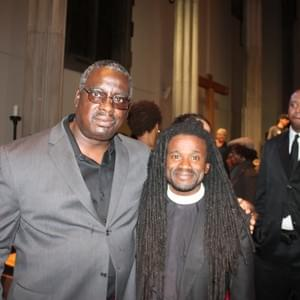 Kendrick with Rev. Osagyefo Uhuru Sekou after a community discussion about Ferguson, MO.
