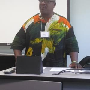 "Kendrick leading a workshop titled ""In Our Own Voices"" at the Summer Institute of Theology and Disabilities. It was in Holland, MI."
