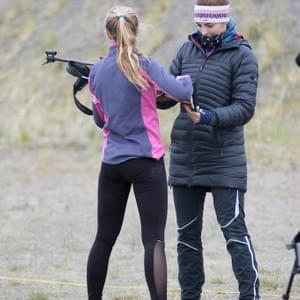 US World Junior biathlete Amanda Del Frate helped out at the 2017 Summer Biathlon Camp at Sunset Biathlon Range.