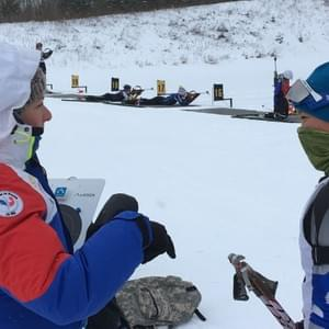 French National Circuit  biathlete Marion Bottesi helped  Nome Nordic biathlete Mallory Conger at the 2017 US Team Trials for the Youth/Junior World Championships in Minnesota.