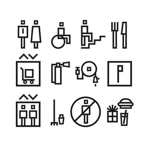 Soho Bund is a development in Shanghai of new office towers with shops, restaurants and penthouses at the top. SparkyTiger gave typographic advice and designed the pictograms for the way finding, commissioned by and in collaboration with AIM Architecture. 2013.