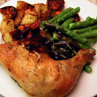 Roast chicken with potatoes and asparagus