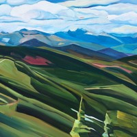 "Selkirk Crest from the top of Chair Six (Schweitzer) - 18""x24"" Oil and wax on panel, 2014"