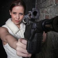 Leia with blaster