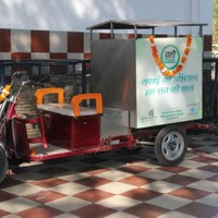 Eco-friendly e-rickshaw is being used to collect the waste from bins all over the GPRA Complex, New Moti Bagh
