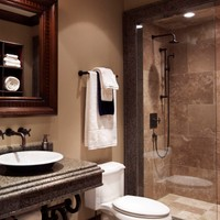 This bathroom provides the perfect blend of old world style with new world finishes.