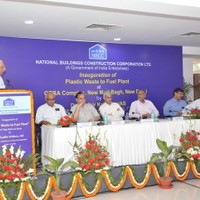 Mr.Vijay Merchant, Senior Member of the Indian Centre for Plastics in the Environment (ICPE) speaking on the occasion of inauguration of Plastic Waste to Fuel Plant on May 20, 2014.