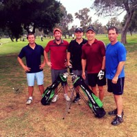 Speedgolf LA pioneers Shane Dwyer, Larry Sher, Chris Smith, Garlin Smith and Roman Gwin after a fast and fun round at Chester L Washington
