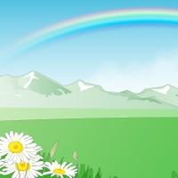 山と虹と草原