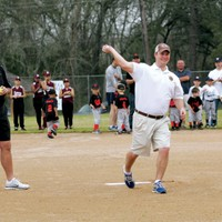 President Jess Koy throws out the first pitch at the Bellville Little League opening day ceremonies!