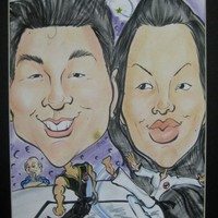 Double Color Bosy Scene Caricature