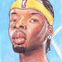Jermaine O'Neal Indiana Pacers NBA Caricature